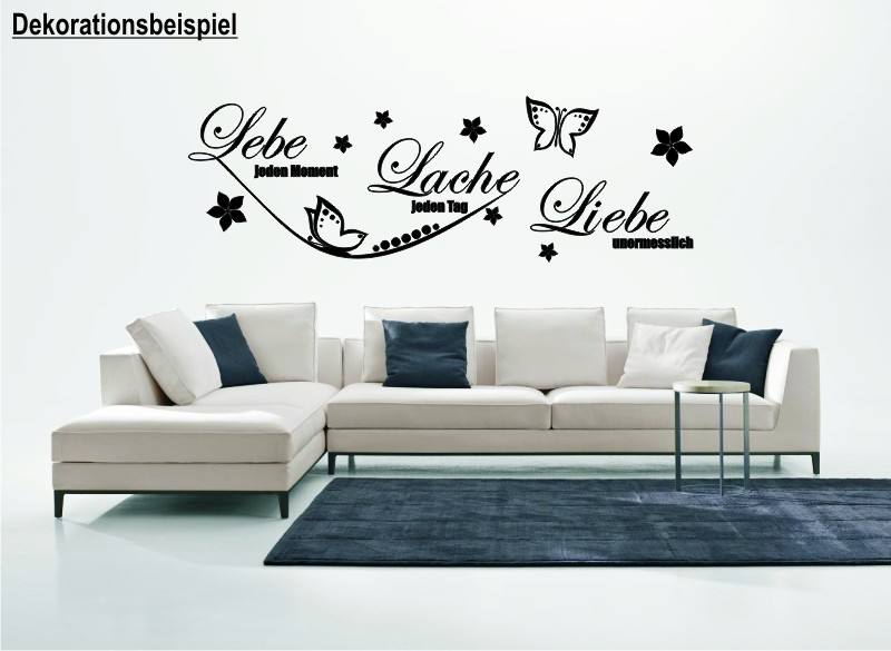 lebe jeden moment lache liebe wandtattoo. Black Bedroom Furniture Sets. Home Design Ideas